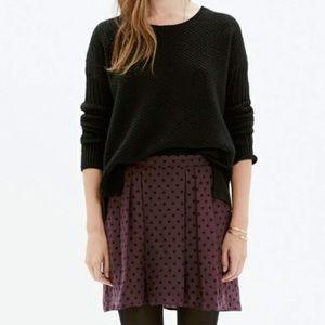 MADEWELL Maroon + Black Polka Dot Skirt